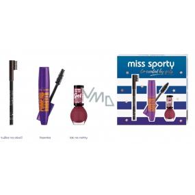 Miss Sporty Pump Up Booster extra black řasenka 12 ml + Lasting Color lak na nehty 151 7 ml + Eyebrow tužka na obočí 002 1,8 g, kosmetická sada