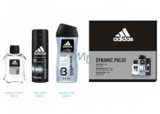 Adidas Dynamic Pulse voda po holení 50 ml + 3v1 sprchový gel na tělo a vlas 250 ml + deodorant sprej 150 ml, kosmetická sada pro muže