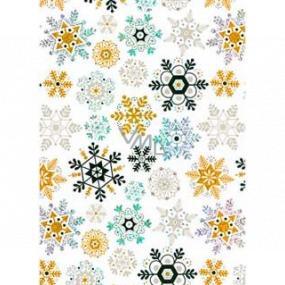 Ditipo Dárkový balicí papír 70 x 150 cm Vánoční bílý holografický zlaté a černé vločky