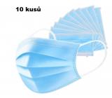 Rouška 3 vrstvá ochranná zdravotní netkaná jednorázová, nízký dýchací odpor 10 kusů modrá TYPE IIR
