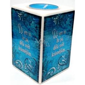 Nekupto Keramický svícen 004 Už jen to, že jsi, dělá svět krásnějším 9 x 6 cm