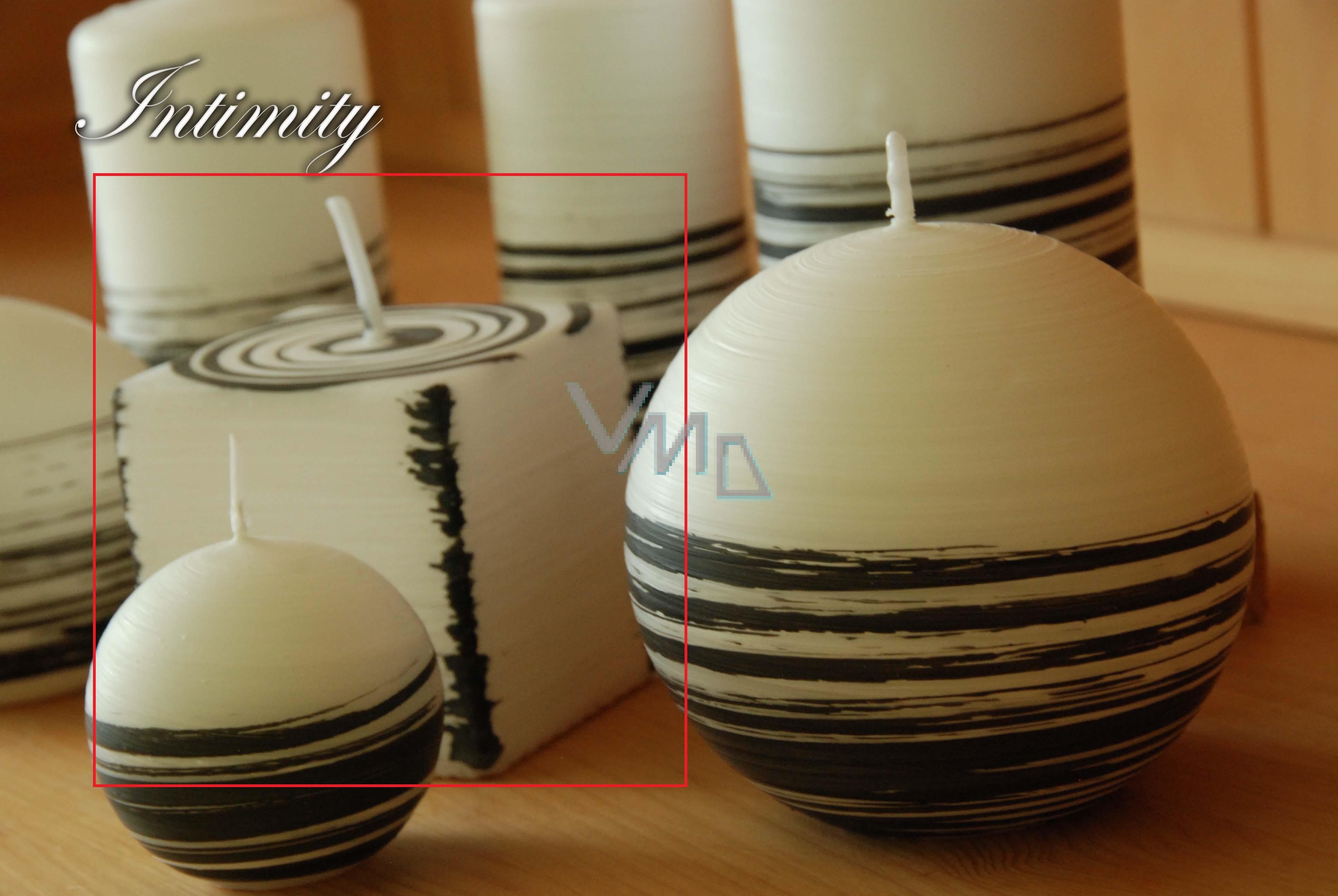 Lima Aromatická spirála Intimity svíčka bílo - černá krychle 65 x 65 mm 1 kus