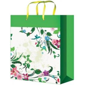 Taška Dárková celoroční zelená s květy L 32 x 26 x 12,7 cm