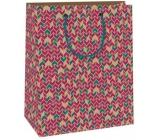 Ditipo Dárková papírová taška střední béžovo-bordó-zelené vzory 18 x 10 x 22,7 cm C