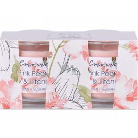 Emocio Pink Peony & Litchi - Pivoňka a liči vonná svíčka sklo 50 x 63 mm 2 kusy v krabičce