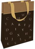 Nekupto Dárková papírová taška 11 x 17,5 x 8 cm Hnědá s písmenky 001 IE