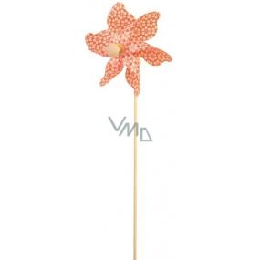 Větrník s kytičkami oranžový 9 cm + špejle 1 kus