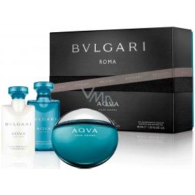 Bvlgari Aqva pour Homme toaletní voda pro muže 50 ml + balzám po holení 40 ml + sprchový gel na tělo a vlasy 40 ml, dárková sada