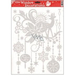 Okenní fólie bez lepidla se stříbrnými glitry vánoční hvězda 42 x 30 cm
