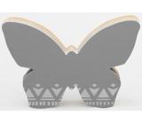Nekupto Home Decor Dřevěná dekorace motýlek šedý 12 x 8 cm