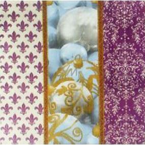 Nekupto Papírové ubrousky vánoční fialové s baňky 3 vrstvé 33 x 33 cm 20 kusů
