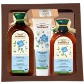 Green Pharmacy Heřmánek a lněný olej šampon na barvené vlasy 350 ml + kondicionér na vlasy 300 ml + krém na ruce 100 ml + Brusinka balzám na rty 3,6 g, kosmetická sada