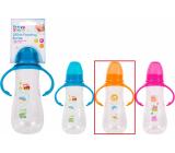 First Steps Feeding Bottle 0+ kojenecká lahev čirá s úchopy Zoo oranžová 250 ml