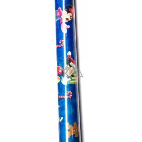 Nekupto Dárkový balicí papír 70 x 150 cm Disney Mickey Mousse a Minnie Vánoční modrý