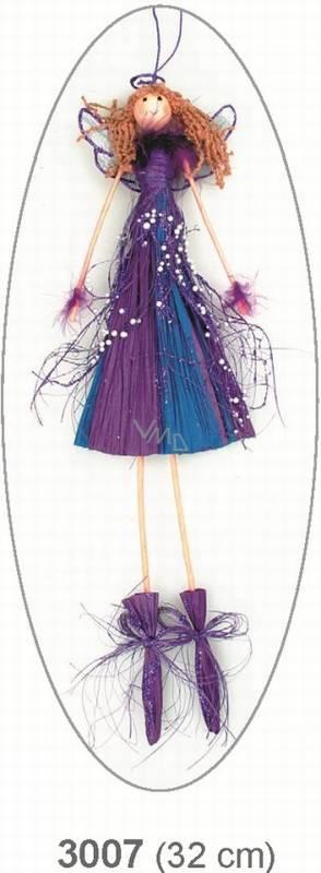 Anděl s perličkami fialový 32cm