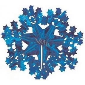 Vločka závěsná modrá 30 cm