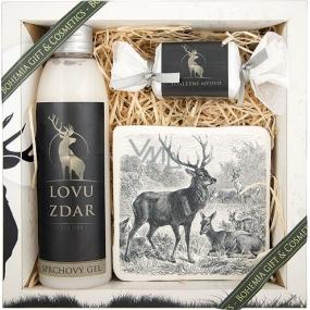 Bohemia Pro myslivce sprchový gel 200 ml + ručně vyráběné mýdlo 30 g + dekorační kachlík s potiskem 10 x 10 cm, kosmetická sada