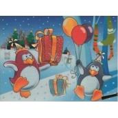 Magické malování vodou se štětcem Tučňáci s balonky 20 x 15 cm
