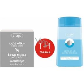 Ziaja Kozí mléko regenerační noční krém 50 ml + Ziaja dvoufázový odličovač očí 120 ml, duopack
