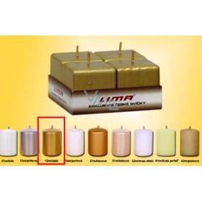 Lima Svíčka hladká zlatá krychle 45 x 45 mm 4 kusy