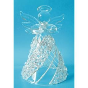 Anděl skleněný na postavení s kamínky 8 cm