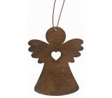 Anděl dřevěný tmavě hnědý na zavěšení 8 cm