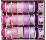 Ditipo Stuha vázací saténová fialový motýlci 3 m x 25 mm
