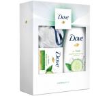 Dove Okurka & Zelený čaj sprchový gel pro ženy 250 ml + Fresh Touch toaletní mýdlo 100 g + luxusní sprchová houba, kosmetická sada