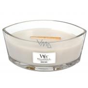 WoodWick Warm Wool - Hřejivá vlna vonná svíčka s dřevěným širokým knotem a víčkem loď 453 g