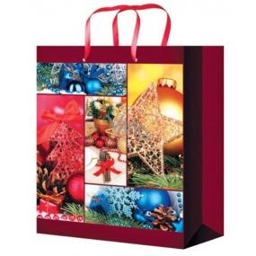 Anděl Taška vánoční dárková bordó vánoční motivy L 32 x 26 x 12,7 cm
