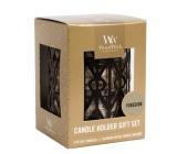 WoodWick Fireside - Oheň v krbu svíčka s dřevěným knotem petite 3 x 31 g + Gemometrický svícen dárkový set