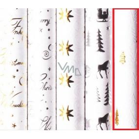 Zöllner Vánoční balicí papír White Christ zlaté stromečky 1,5 m x 70 cm