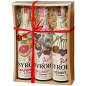 Kitl Syrob Bio Grapefruit s dužinou 500 ml + Višňový s dužinou 500 ml + Malinový s dužinou sirup pro domácí limonády 500 ml, dárkové balení