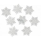 Vločky dřevěné s glitry stříbrné 5 cm 8 kusů