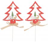 Strom dřevěný zápich červený 8 cm + špejle, 2 kusy