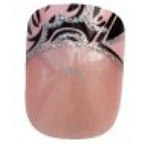 Diva & Nice Natureasy Nails Decorated nalepovací nehty růžové s černo-růžovou aplikací 24 kusů