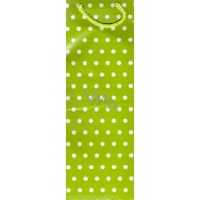 Nekupto Dárková papírová taška na láhev 33 x 10 x 9 cm Zelená bílý puntík 1 kus 869 50 ALH