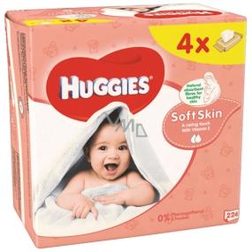 Huggies Soft Skin vlhčené čistící ubrousky 4 x 56 kusů