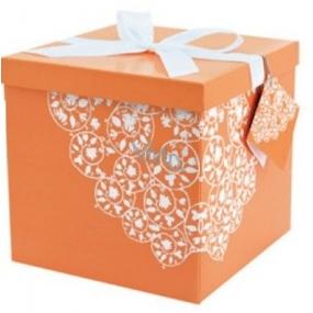 Dárková krabička skládací s mašlí Oranžová L 22 x 22 x 13 cm