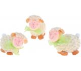 Ovečka kudrnatá se zelenou mašlí na postavení 7 cm 1 kus