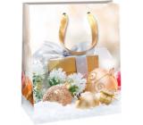 Ditipo Dárková papírová taška 26,4 x 13,6 x 32,7 cm Glitter Vánoční světlá - zlatý dárek a baňky