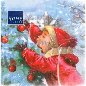 Carl Dietrich vánoční papírové ubrousky dítě u stromečku 3 vrstvé 33 x 33 cm 20 kusů