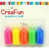 CreaFun Dekorační barvy Třpytivé neon na papír, textil, sklo 5 x 20 ml