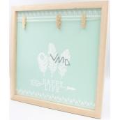 Nekupto Home Decor Dřevěná deska se 3 kolíčky zelená 30 x 30 cm