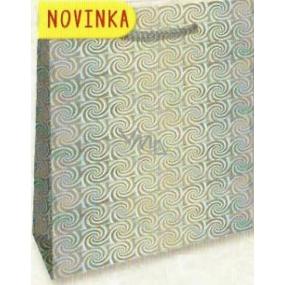 Nekupto Dárková papírová taška malá 14 x 11 x 6,5 cm Stříbrná hologramová 123 02 THS