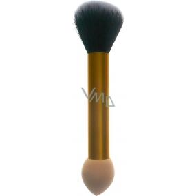 Jiajun Kosmetický štětec s pěnovou houbičkou oboustranný 30450 zlato-béžový 16 cm