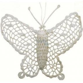 Háčkovaný motýl velký cca16 cm bílý