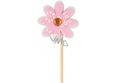 Květinka z filcu růžová 4 cm + špejle