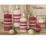Lima Fresh Line Emotion vonná svíčka bílá - růžové pruhy koule průměr 60 mm 1 kus