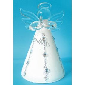 Anděl skleněný na postavení bílý 8 cm